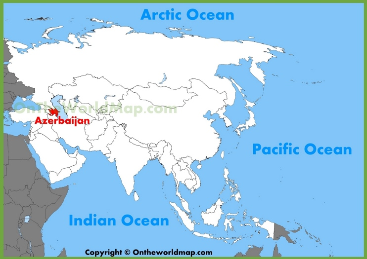 Azerbaijan location on the Asia map