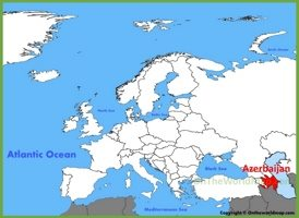 Azerbaijan location on the Europe map