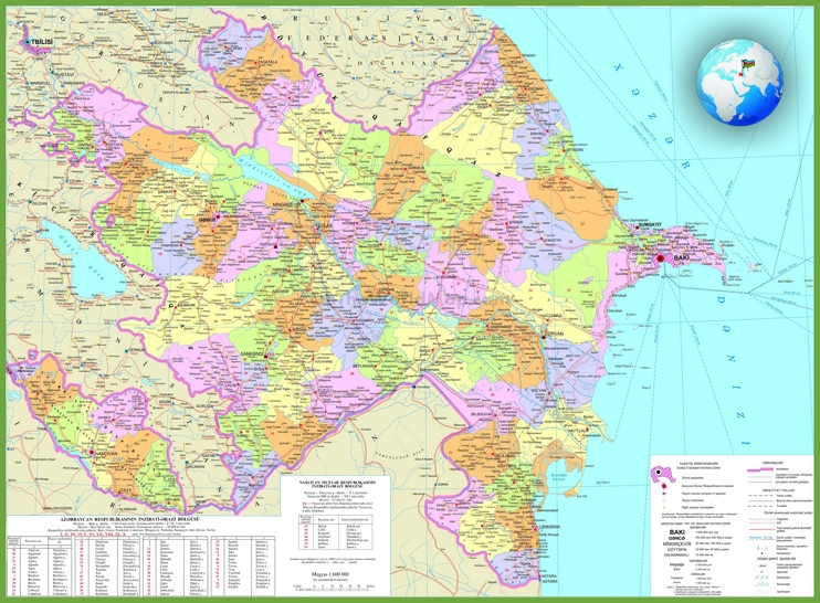 Large detailed map of Azerbaijan with cities and towns