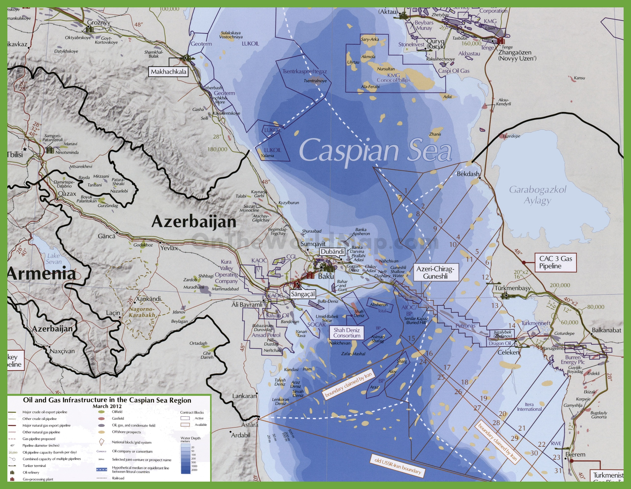 Map of oil and gas in Azerbaijan