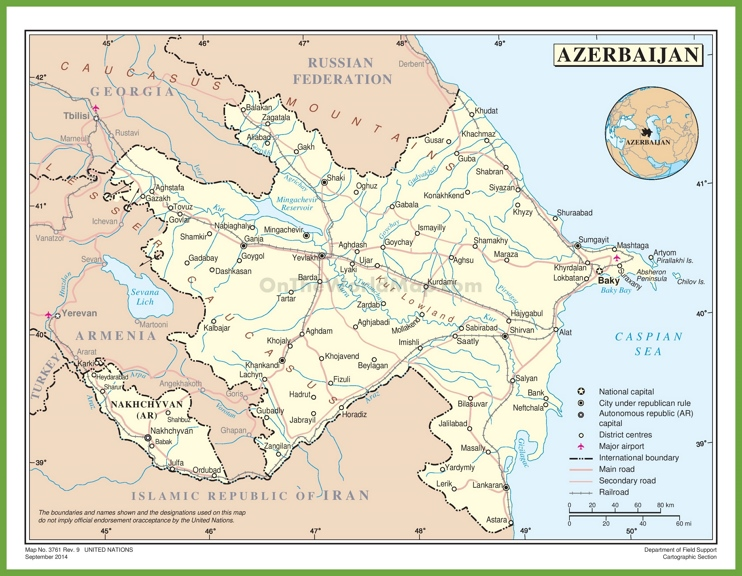 Road map of Azerbaijan