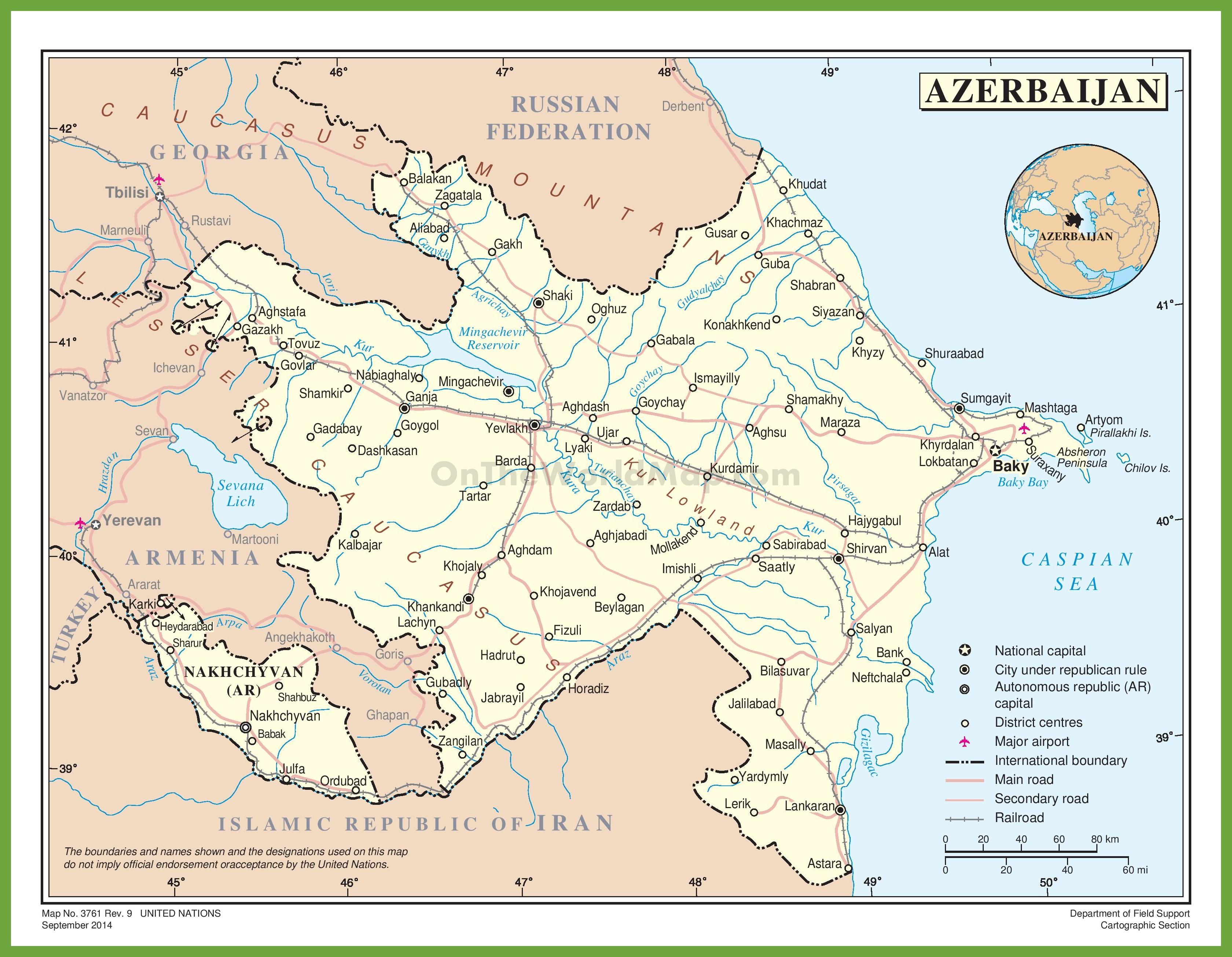 Road Map Of Azerbaijan - Azerbaijan maps with countries