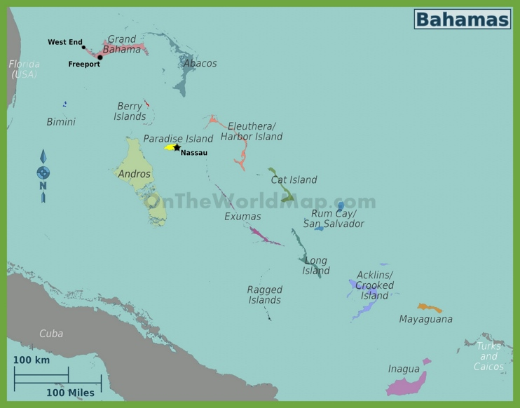 Administrative map of regions in The Bahamas