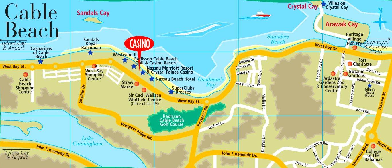 printable map of nassau bahamas Cable Beach Map printable map of nassau bahamas