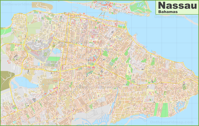 printable map of nassau bahamas Large Detailed Map Of Nassau Bahamas printable map of nassau bahamas