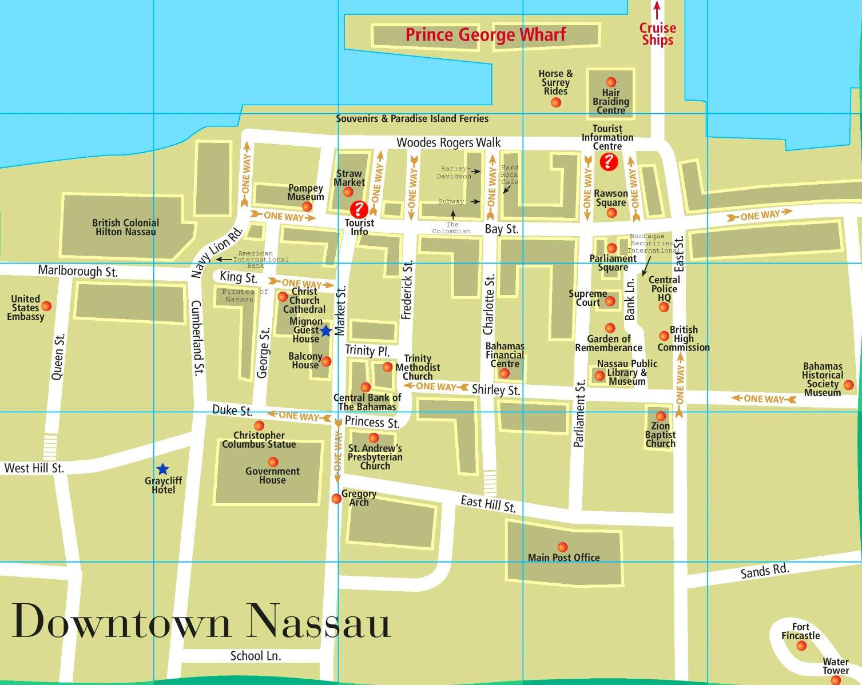 printable map of nassau bahamas Nassau Downtown Map printable map of nassau bahamas