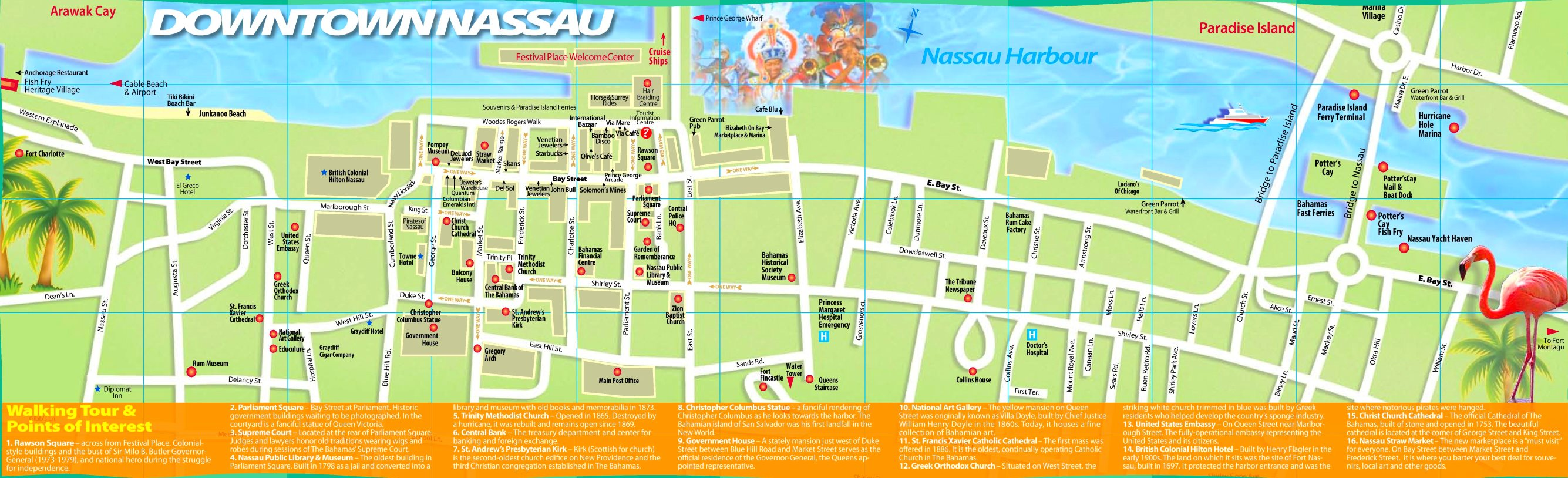 Map Nassau Bahamas Nassau tourist map