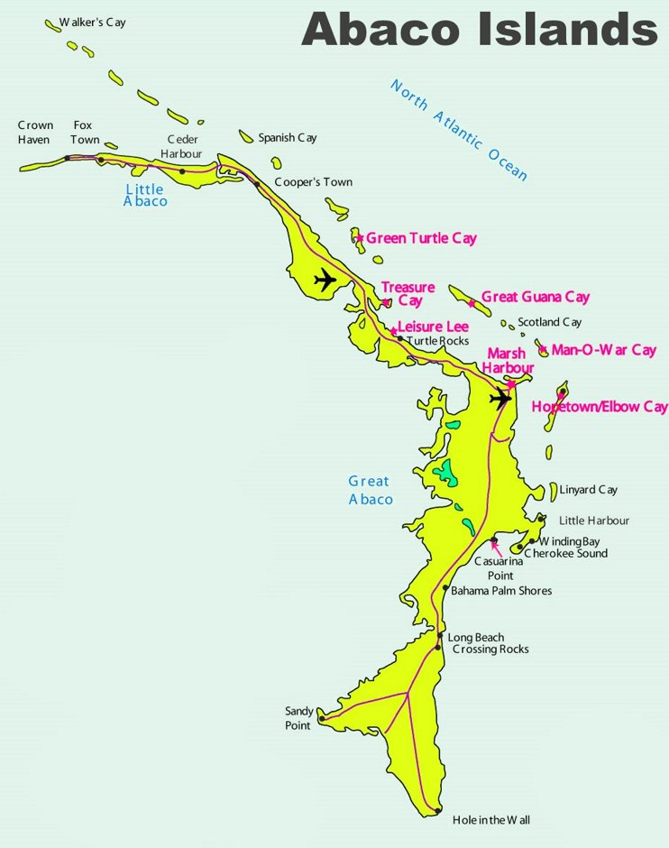 Abacos tourist map