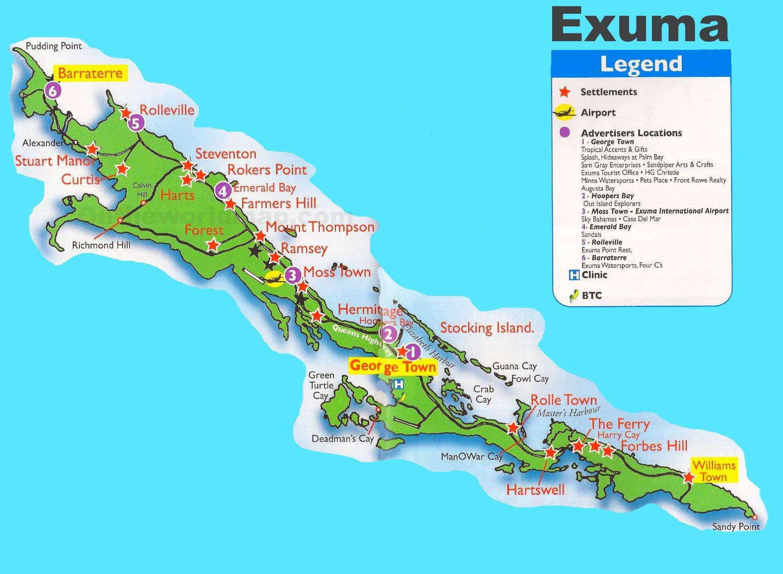 george town bahamas map Exuma Tourist Attractions Map george town bahamas map
