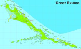 Large detailed map of Exuma