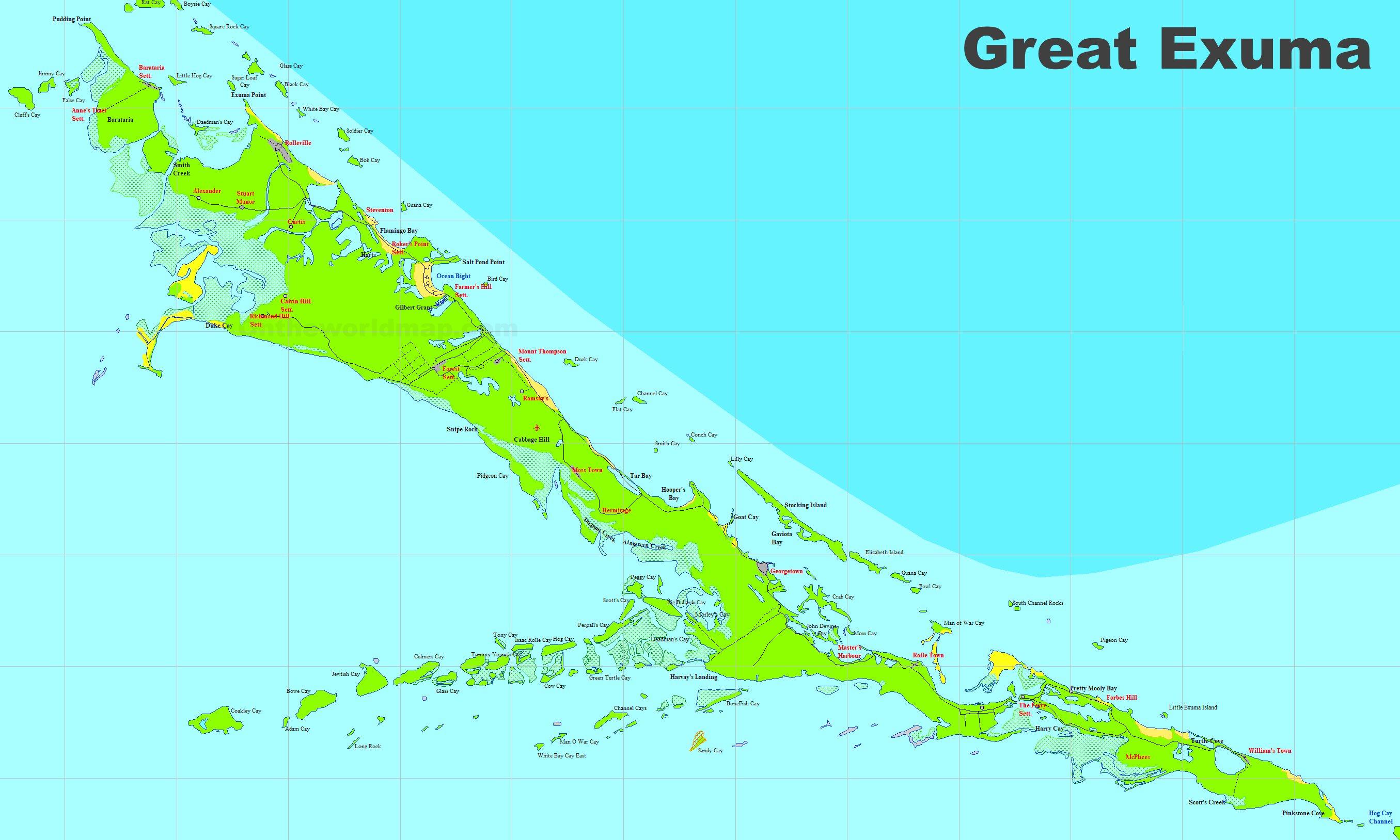 Exuma Bahamas Map Large detailed map of Exuma