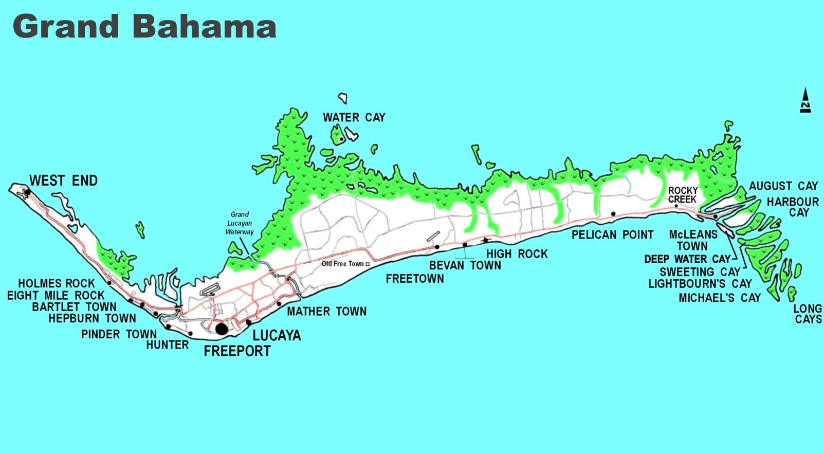 Map Of Grand Bahama Island Detailed map of Grand Bahama