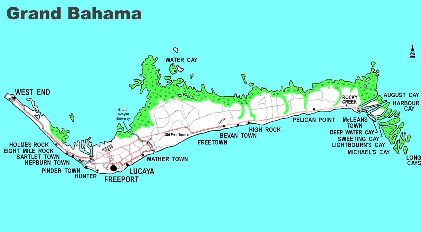 Grand Bahama Island Map Detailed map of Grand Bahama Grand Bahama Island Map