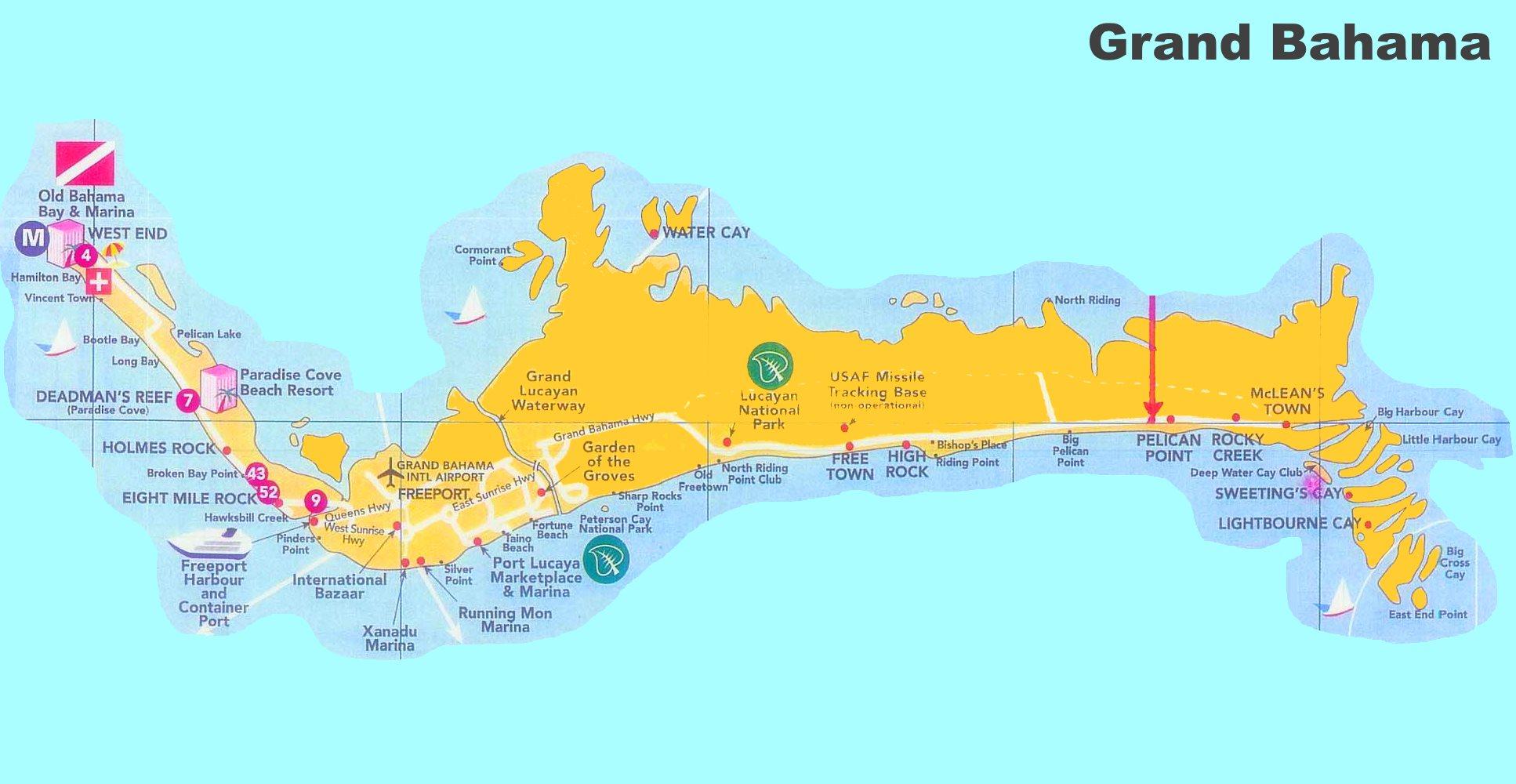 Map Of Grand Bahama Island Grand Bahama tourist map
