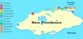 New Providence beaches map