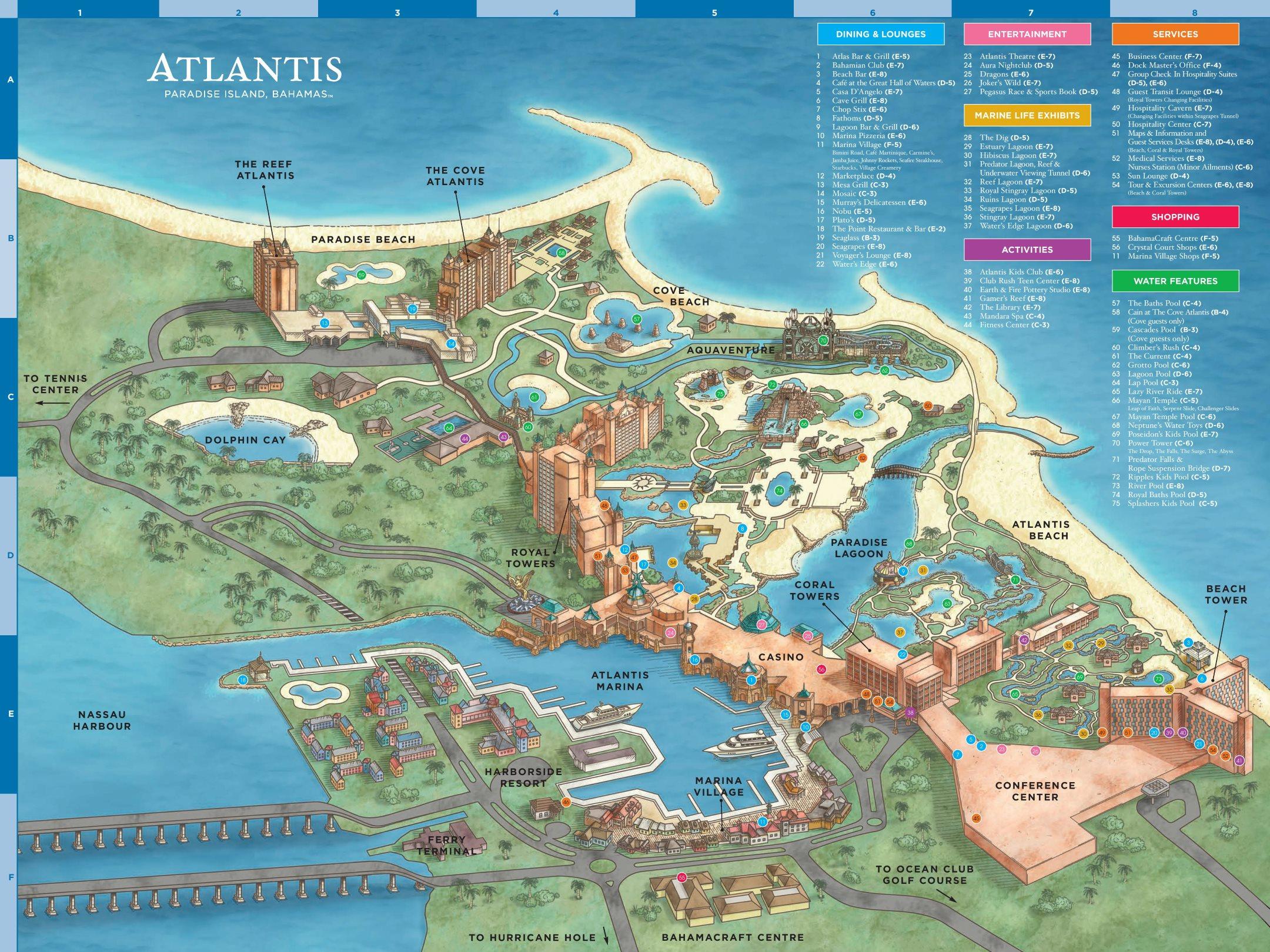 map of paradise island bahamas Atlantis Paradise Island Hotel Overview Map map of paradise island bahamas