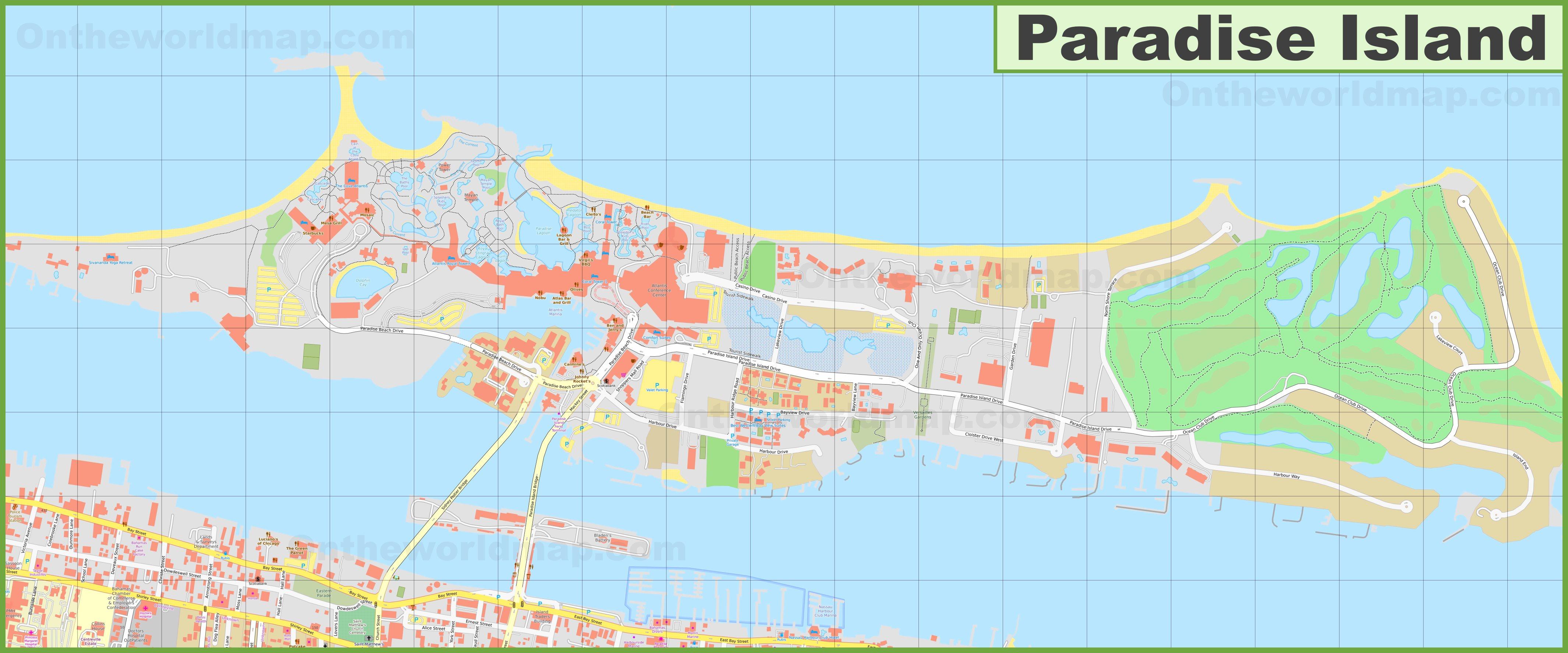 Paradise Island Bahamas Map Large detailed map of Paradise Island