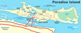 Paradise Island hotels and beaches map
