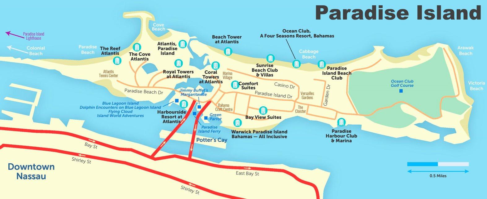 map of paradise island bahamas Paradise Island Hotels And Beaches Map map of paradise island bahamas