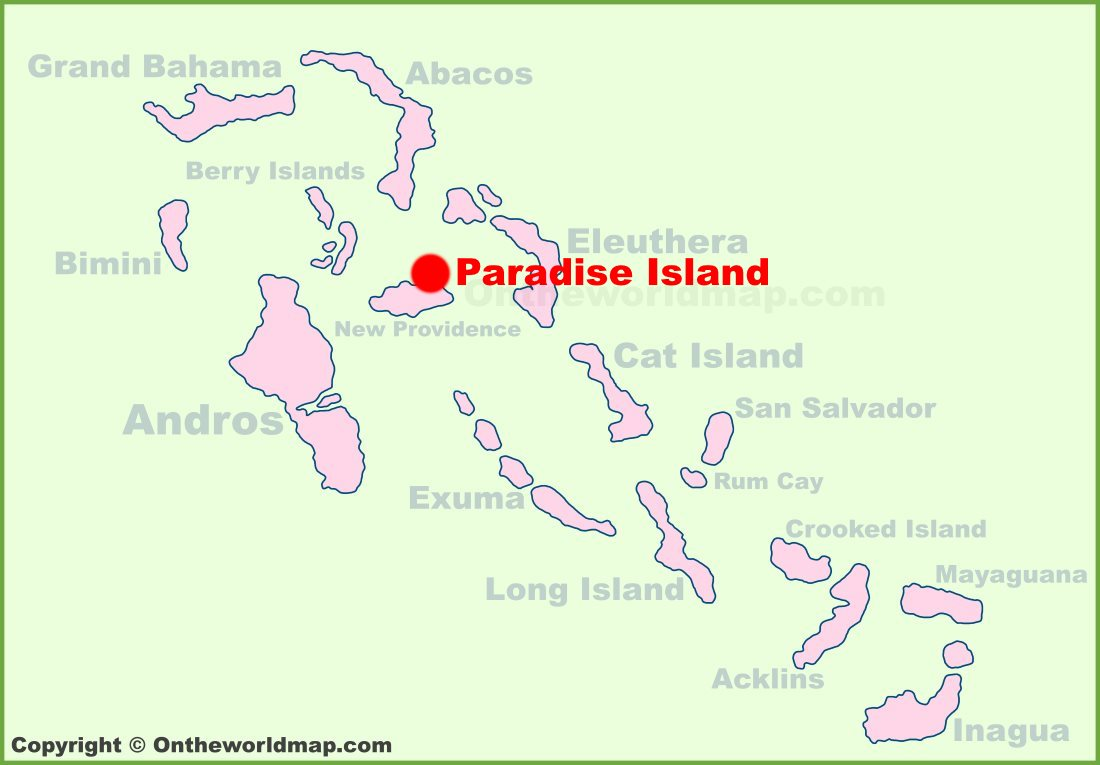 Picture of: Paradise Island Location On The Bahamas Map