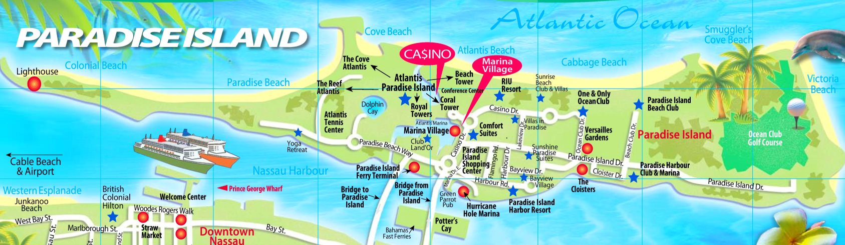 map of paradise island bahamas Paradise Island Tourist Map map of paradise island bahamas