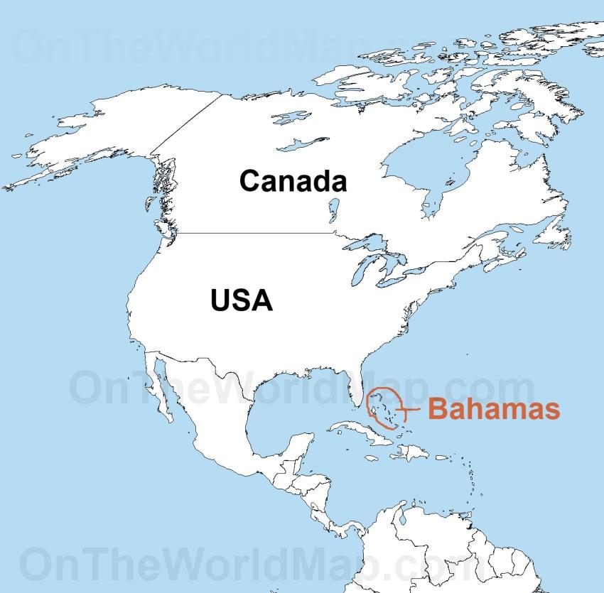 Bahamas on the World Map Bahamas on the Caribbean Map Bahamas on the Nort