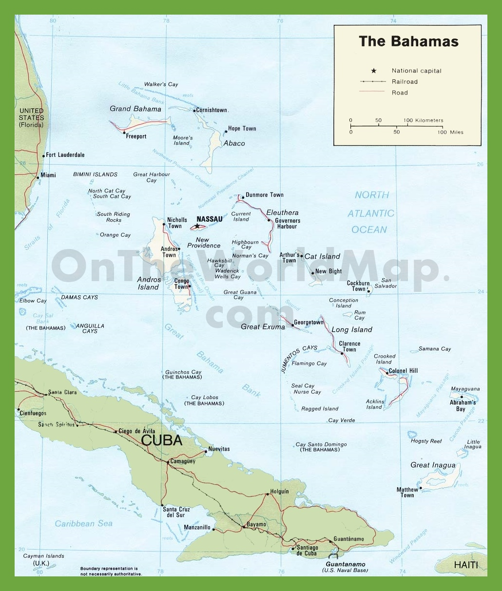 Road map of The Bahamas