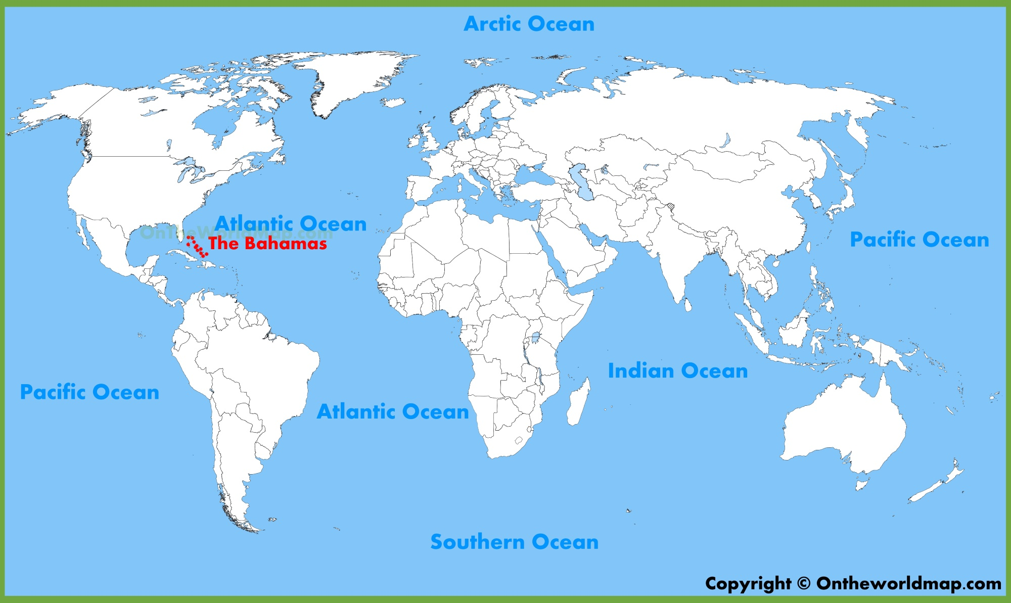 Bahamas On World Map The Bahamas location on the World Map
