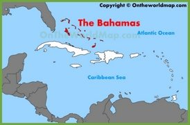 The Bahamas location on the Caribbean map