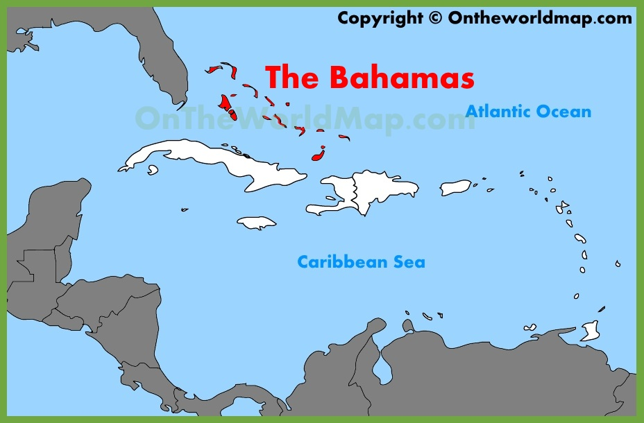Bahamas On World Map The Bahamas location on the Caribbean map