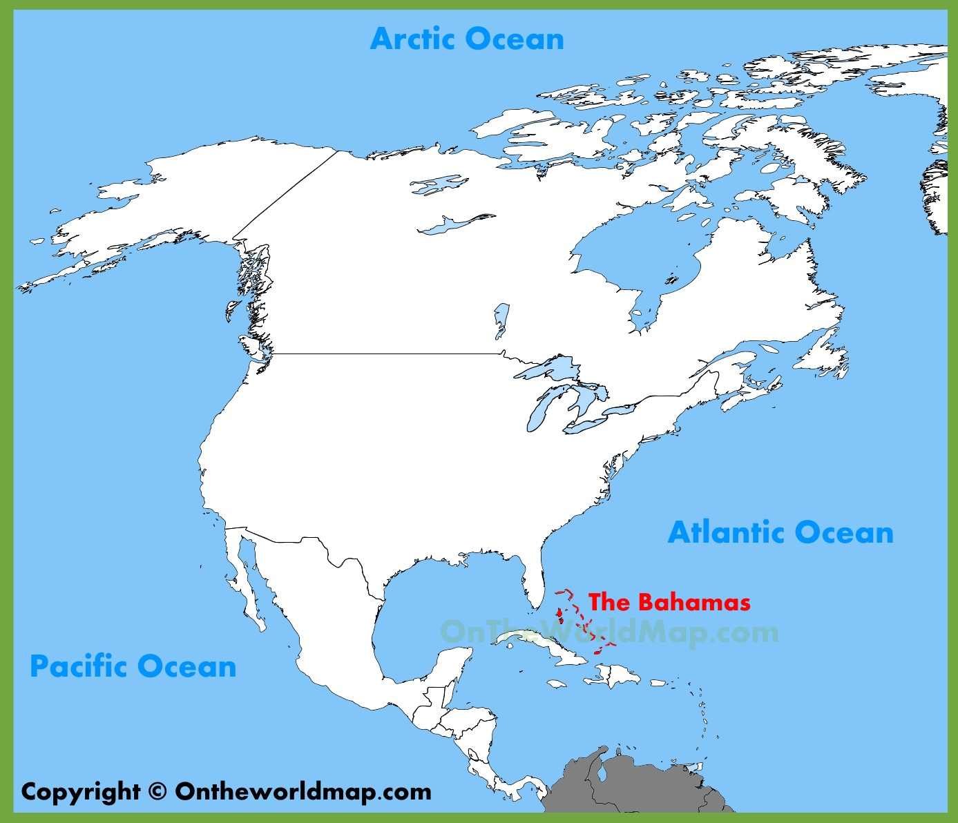 The Bahamas location on the North America map