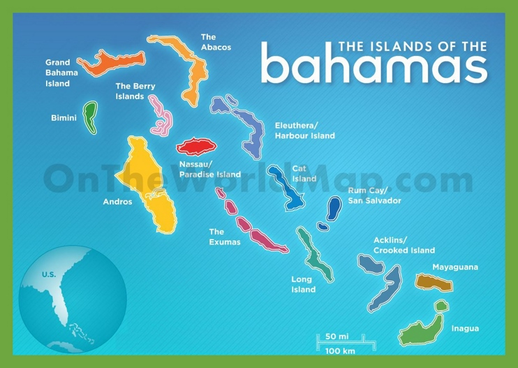 The islands of The Bahamas map