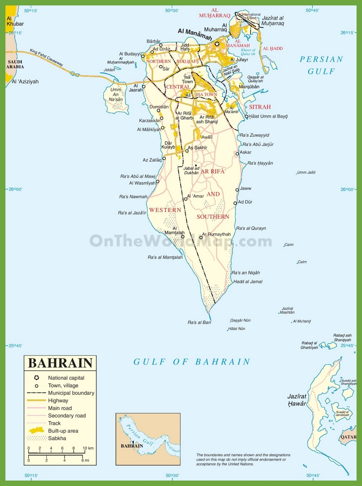 Large detailed map of Bahrain