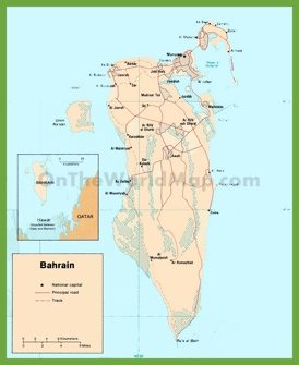 Road map of Bahrain