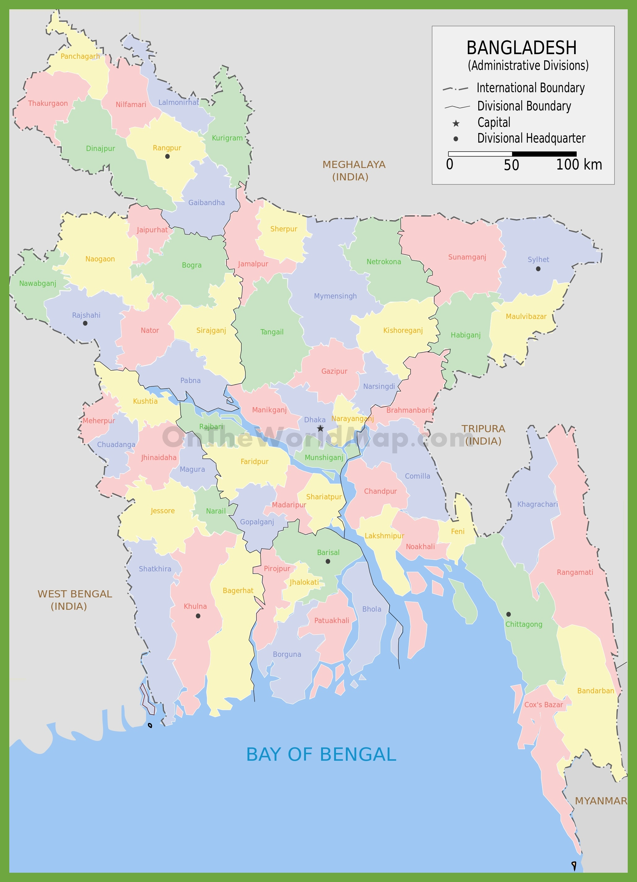 Administrative map of districts in Bangladesh