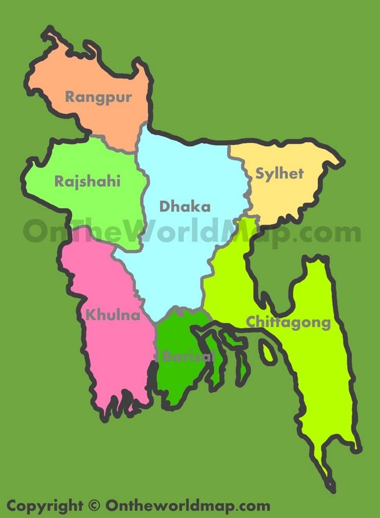 Administrative map of divisions in Bangladesh
