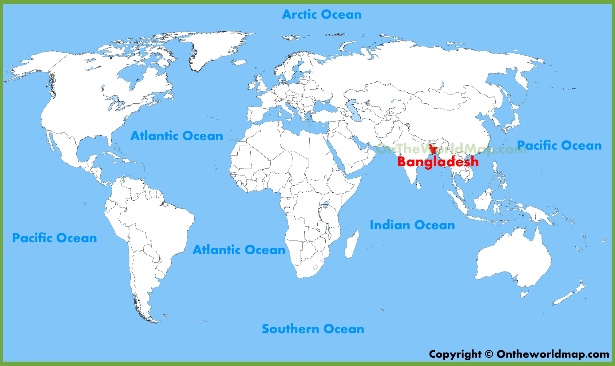 Bangladesh location on the World Map