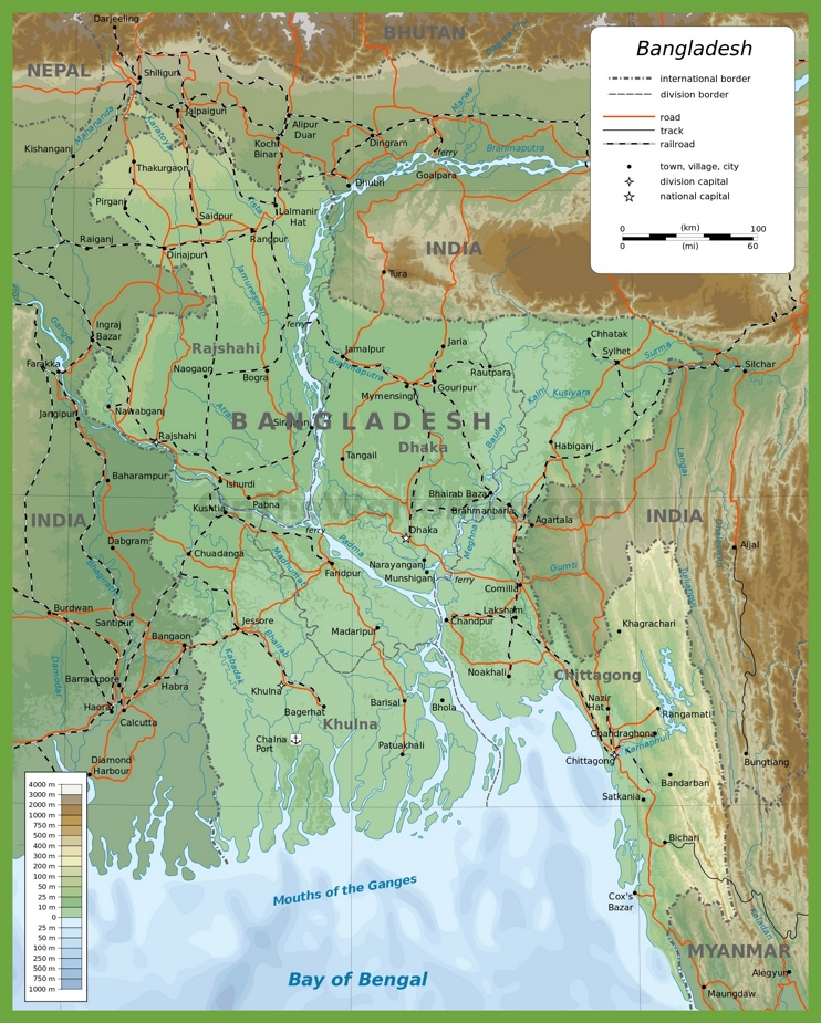 Bangladesh physical map