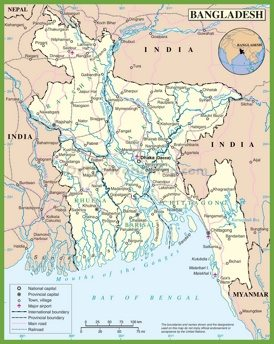 Large detailed map of Bangladesh with cities