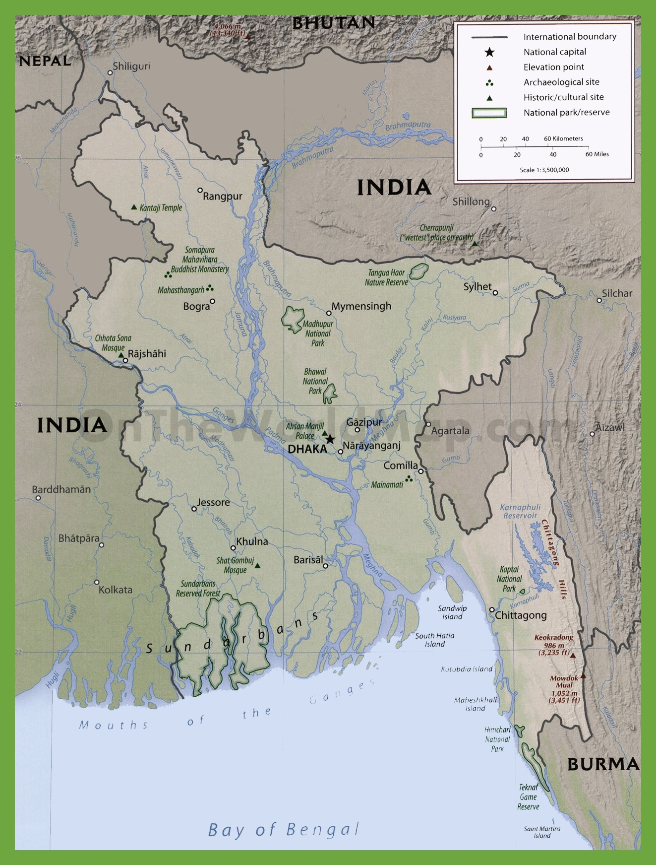 Physiographic map of bangladesh with national parks