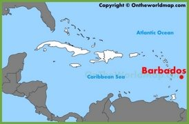 Barbados location on the Caribbean map
