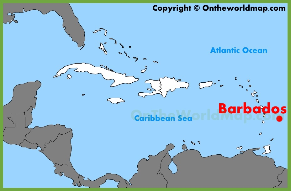 Barbados On World Map Barbados location on the Caribbean map Barbados On World Map