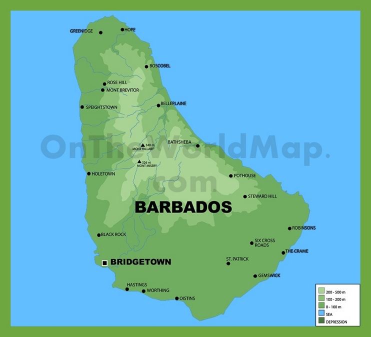 Barbados physical map