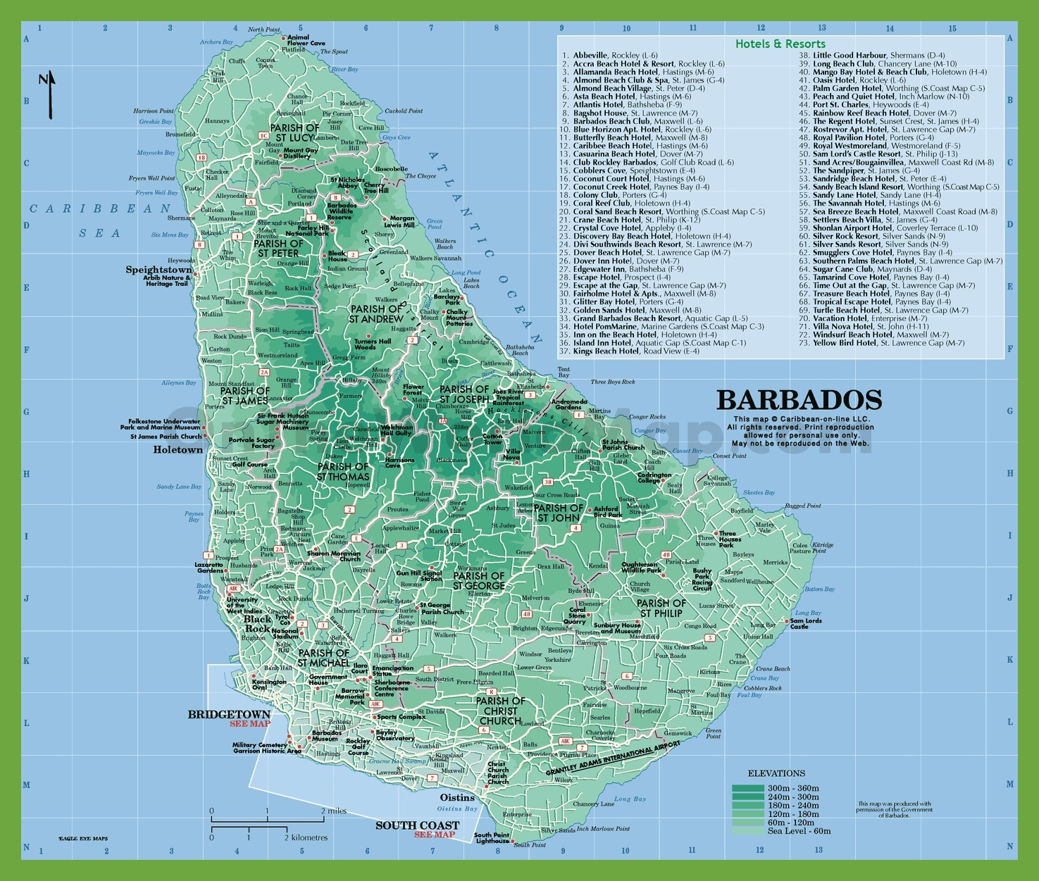 Map of Barbados with hotels and resorts
