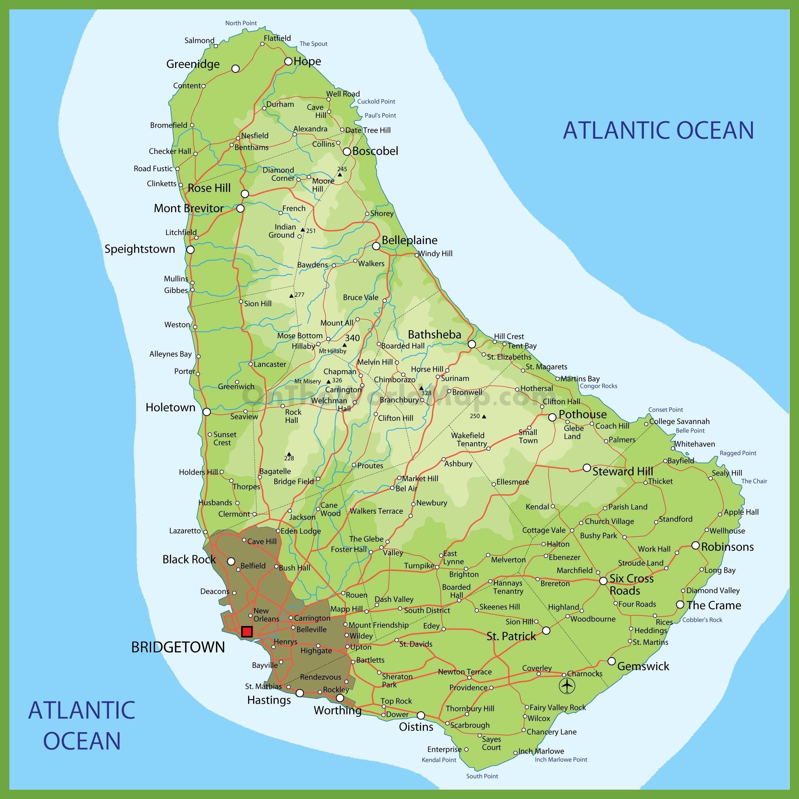 Barbados On Map Road map of Barbados Barbados On Map