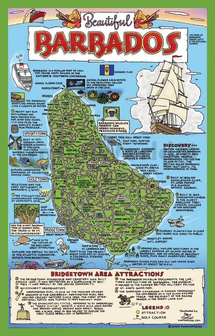 Tourist map of Barbados with attractions