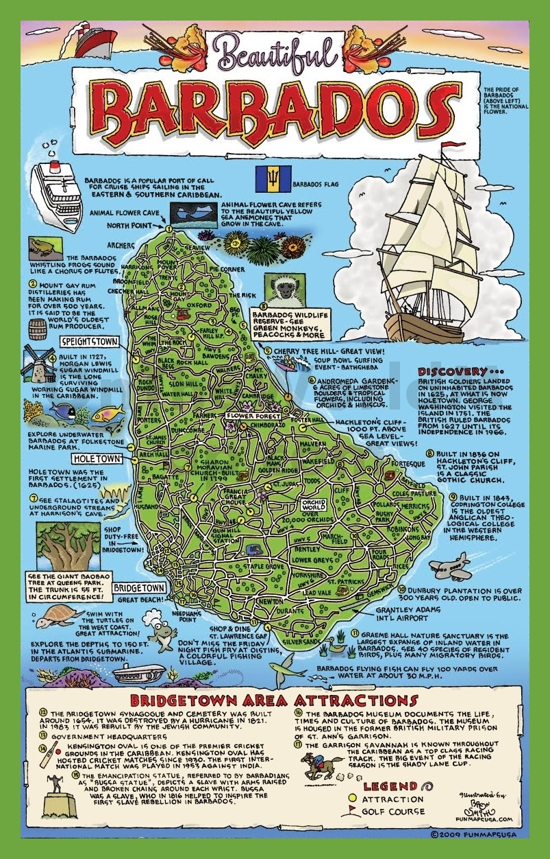 Tourist map of Barbados with attractions – Tourist Attractions Map In Jamaica