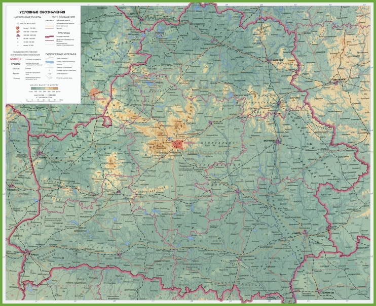 Large detailed Belarus physical map