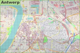 Large detailed map of Antwerp