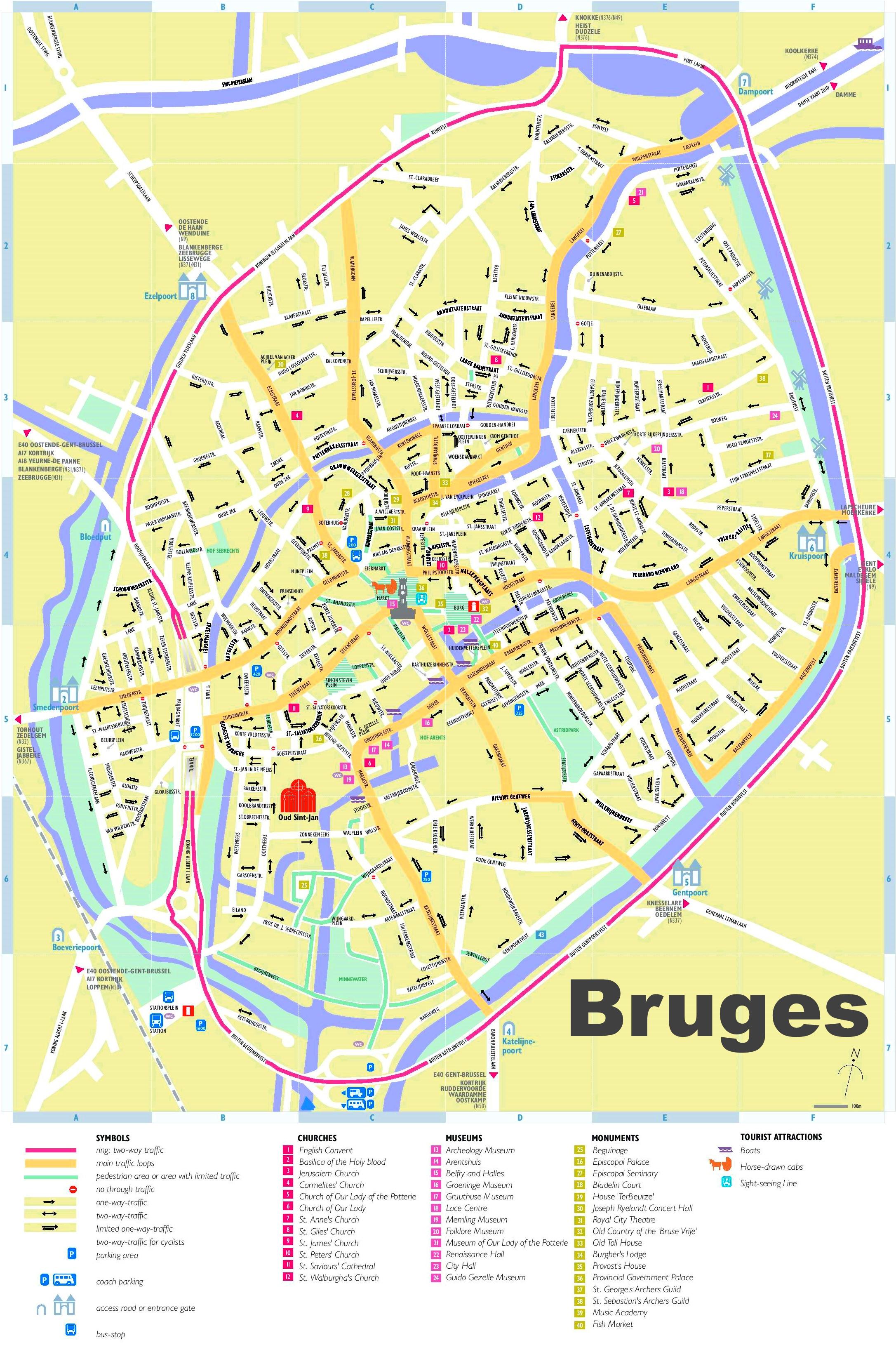 Map Of Bruges Bruges tourist map
